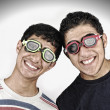 Stock Photo: Two happy funny teenagers together, portait