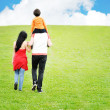 Young family having a walk in the sun over the meadow on a bright summer da — Stock Photo