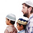 Muslim family, father and two boys — Stock Photo