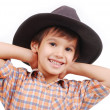 Very cute kid with hat on his head, isolated — Stock Photo #8844207