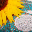 Sunflower put on holy Islam book Koran — Stock Photo #8844266