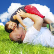 Grandfather and son on medow — Stock Photo