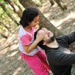 Peekaboo, daughter playing with her father in wonderfull forest — Stock Photo