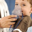 Doctor, child, inhaler mask for breathing, hospital — Stock Photo