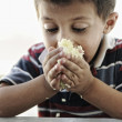 Stock Photo: Portrait of poverty, little poor boy on food pot eating rice