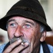 Closeup Artistic Photo of Aged Man With Grey Mustache Smoking Cigarette — Stock Photo