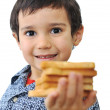 Kid with bread isolated — Stock Photo