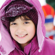 Little girl portrait in snow, winter — Stock Photo #8844761