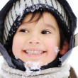 Kid in snow — Stock Photo