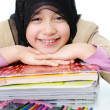Stock Photo: Muslim girl learning, back to school