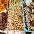Dried fruits on market place, piazza, bazaar — Stock Photo