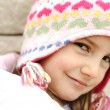 Adorable little girl with positive smiling face — Stok fotoğraf