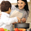 Stock Photo: Mother And Children Prepare meal,mealtime Together