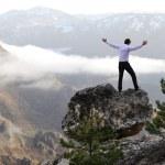 Man on top of mountain with open arms. Conceptual design. — Foto de Stock   #8845268