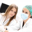 Inside the modern lab of university hospital, young confidental successful — Stock Photo #8845363