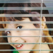Portrait of an innocent small boy peeping through window with jalousie — Stock Photo