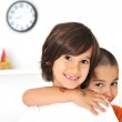 Happy cute boys at home, lovely little brothers — Stock Photo #8845816