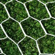 Stock Photo: White football net on green grass background