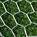 White football net on green grass background — Stock Photo
