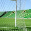 Goal net and white line in a soccer field on stadium — Stock Photo