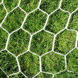 White football net on green grass background — Stock Photo