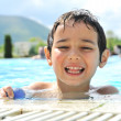 Summertime and swimming activities for happy children on the pool — ストック写真