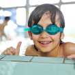 Summertime and swimming activities for happy children on the pool — Stock Photo