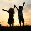 Silhouette, group of happy children playing on meadow, sunset, summertime — Stock Photo #8846510