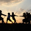Silhouette, group of happy children playing on meadow, sunset, summertime — Stock Photo #8846523