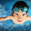 Summertime and swimming activities for happy children on the pool — Foto Stock