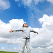 Little boy feeling a freedom on meadow in nature — Stock Photo #8846819