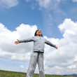 Little boy feeling a freedom on meadow in nature — Stock Photo #8846821