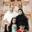 Happy Muslim family in Petra, Jordan — Stock Photo