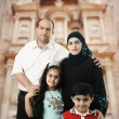 Happy Muslim family in Petra, Jordan - Stock Photo