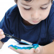 Kid with painted hand — Stock Photo #8846893