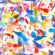 Abstract childrens drawing water color paints on glass — Stock Photo