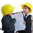 Stock Photo: Little cute engineers isolated, kids playing together