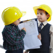 Little cute engineers isolated, kids playing together — Stock Photo #8847731