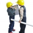 Little cute engineers isolated, kids playing together — Stock Photo