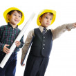 Little cute engineers isolated, kids playing together — Stock Photo #8847757