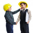 Little cute engineers isolated, kids playing together — Stock Photo #8847764