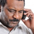 African American man speaking on phone — Stock Photo
