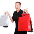 Elderly white woman with bags for shopping — Stock Photo #8848043