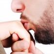 Young male model kissing female hand closeup — Stock Photo #8848046