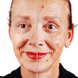 Senior woman with old skin face and retouched other half — ストック写真