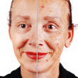 Senior woman with old skin face and retouched other half — Stock fotografie