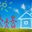 Stock Photo: Illustrated happy family and their new home on green meadow