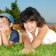 Beautiful green place and children activities — Stock Photo