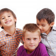 Small group of children, happiness, isolated — Stock Photo