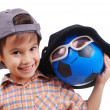 Little cute boy with hat on head and ball as a friend — Stock Photo